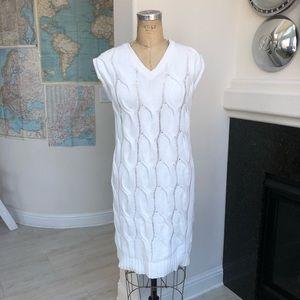 Theory Kelt Yima cable knit dress white medium
